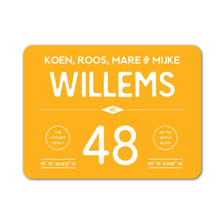 Naambord-Willems-koenmeloen-geel-wit