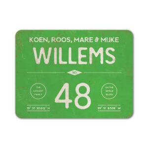 Naambord-Willems-koenmeloen-groen-wit