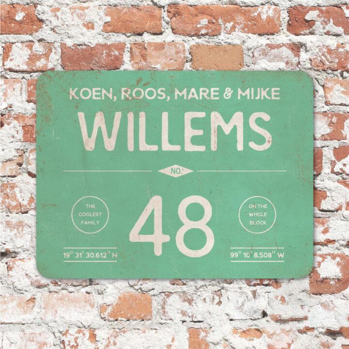 Naambord-Willems-koenmeloen-mint-wit