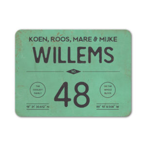 Naambord-Willems-koenmeloen-mint-zwart