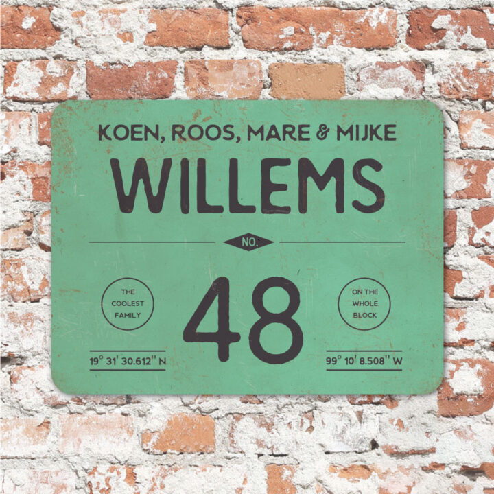 Naambord-Willems-koenmeloen-mint-zwart-met-muur
