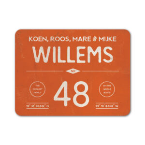 Naambord-Willems-koenmeloen-oranje-wit