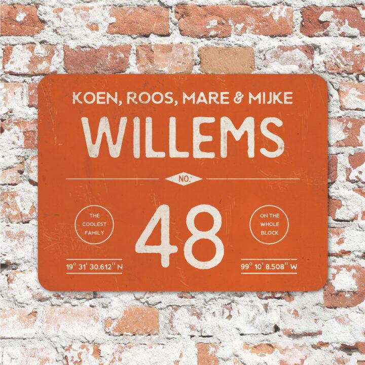 Naambord-Willems-koenmeloen-oranje-wit