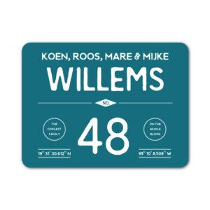 Naambord-Willems-koenmeloen-wit-petrol-blauw