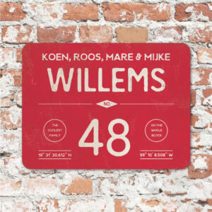 Naambord-Willems-koenmeloen-rood-wit