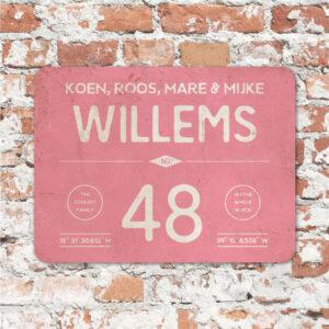 Naambord-Willems-koenmeloen-roze-wit