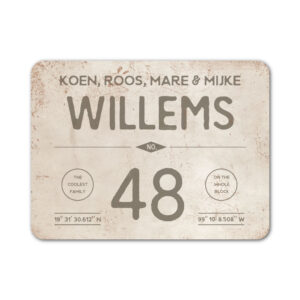 Naambord-Willems-koenmeloen-grijs-wit