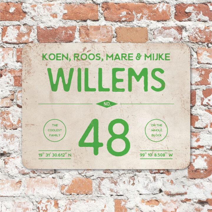 Naambord-Willems-koenmeloen-groen-wit