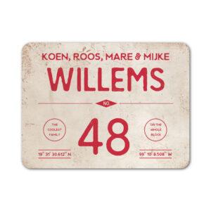 Naambord-Willems-koenmeloen-rood-wit