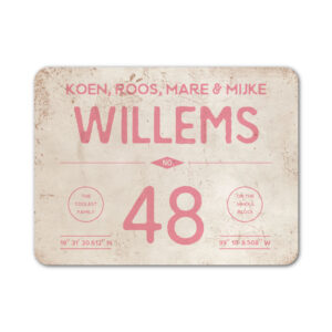 Naambord-Willems-koenmeloen-roze-wit