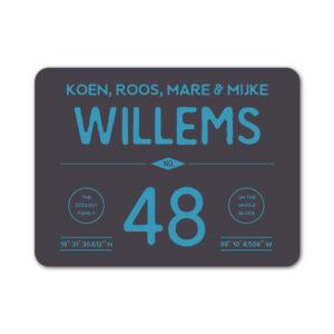 Naambord-Willems-koenmeloen-zwart-blauw