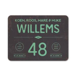 Naambord-Willems-koenmeloen-mint-zwart