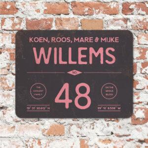 Naambord-Willems-koenmeloen-roze-zwart