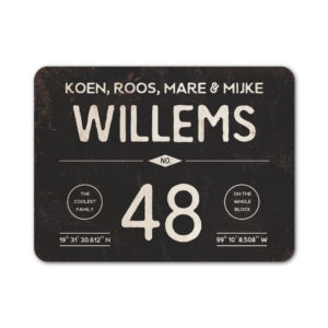 Naambord-Willems-koenmeloen-zwart-wit