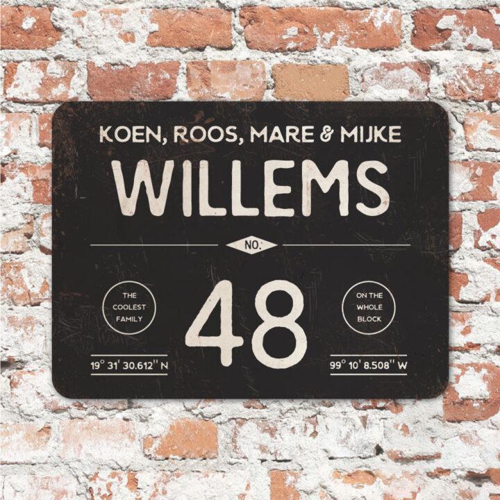 Naambord-Willems-koenmeloen-zwart-wit