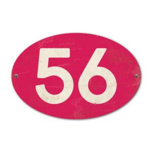 Koenmeloen-Huisnummer-bord-ovaal-knalroze-wit
