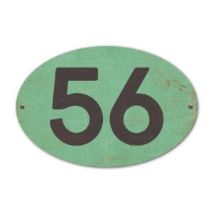 Koenmeloen-Huisnummer-bord-ovaal-mint-zwart