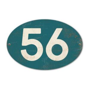 Koenmeloen-Huisnummer-bord-ovaal-petrol-blue-wit