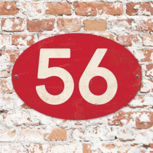 Koenmeloen-Huisnummer-bord-ovaal-rood-wit