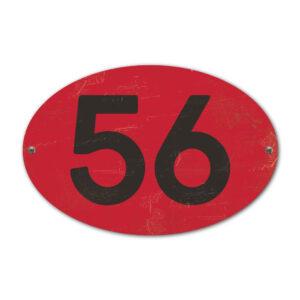 Koenmeloen-Huisnummer-bord-ovaal-rood-zwart