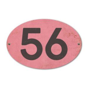 Koenmeloen-Huisnummer-bord-ovaal-roze-zwart