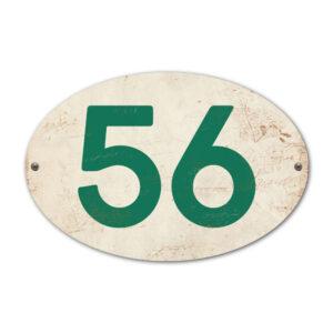 Koenmeloen-Huisnummer-bord-ovaal-wit-donkergroen