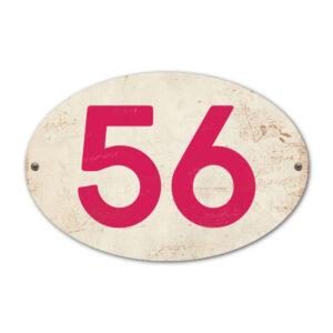 Koenmeloen-Huisnummer-bord-ovaal-wit-knalroze