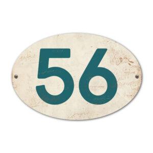Koenmeloen-Huisnummer-bord-ovaal-wit-petrol-blue