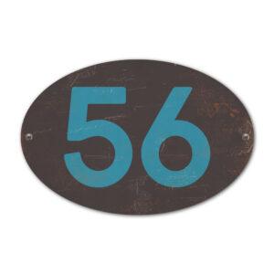 Koenmeloen-Huisnummer-bord-ovaal-zwart-blauw