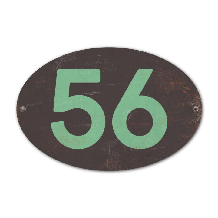 Koenmeloen-Huisnummer-bord-ovaal-zwart-mint