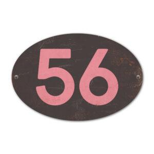 Koenmeloen-Huisnummer-bord-ovaal-zwart-roze
