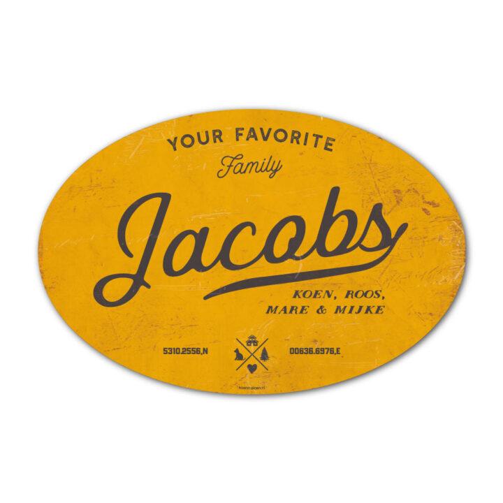 Naambord-Jacobs-koenmeloen-geel-zwart