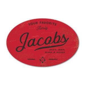 Naambord-Jacobs-koenmeloen-rood-zwart
