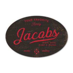 Naambord-Jacobs-koenmeloen-zwart-rood