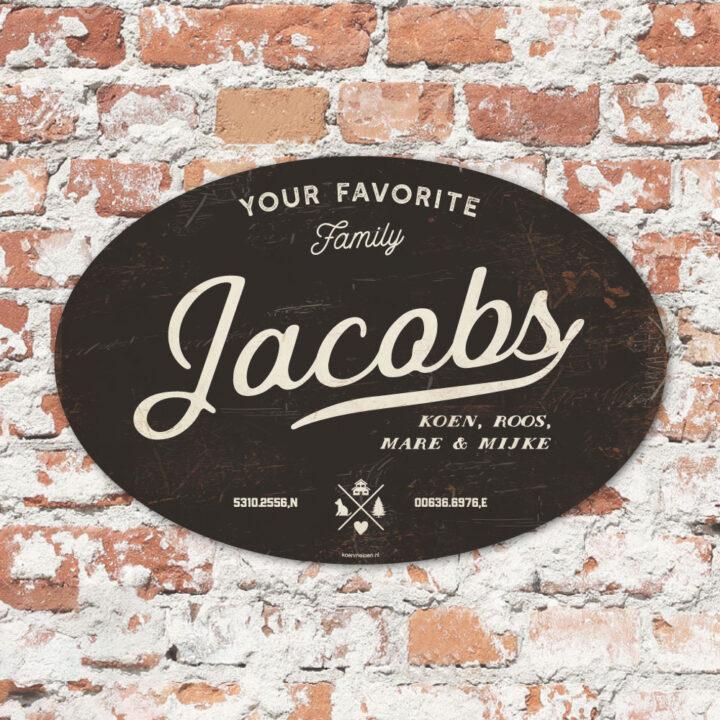 Naambord-Jacobs-koenmeloen-zwart-wit-muur