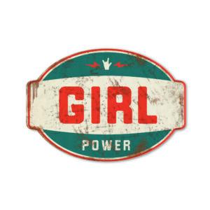 Koenmeloen naamborden Girl power banner blauw rood mei