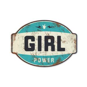 Koenmeloen naamborden Girl power banner blauw zwart meisjeskamer