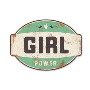 Koenmeloen-naamborden-Girl-power-banner-mint-zwart meisjeskamer