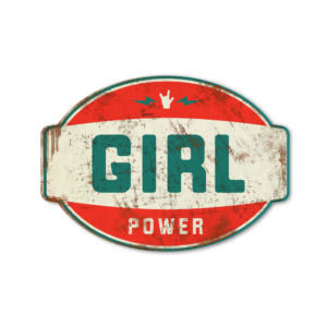 Koenmeloen naamborden Girl power banner rood blauw meisjeskamer