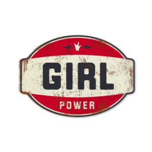 Koenmeloen naamborden Girl power banner rood zwart meisjeskamer