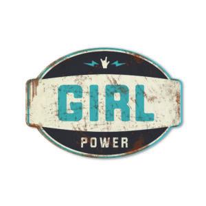 Koenmeloen naamborden Girl power banner zwart blauw meisjeskamer