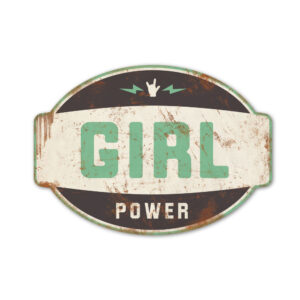 Koenmeloen-naamborden-Girl-power-banner-zwart-mint meisjeskamer