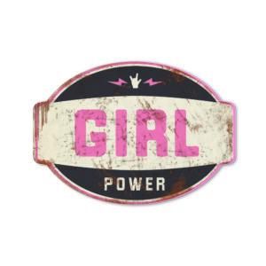 Koenmeloen naamborden Girl power banner zwart roze meisjeskamer