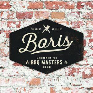 bbq master - vaders - koenmeloen naamborden - met muur zwart wit
